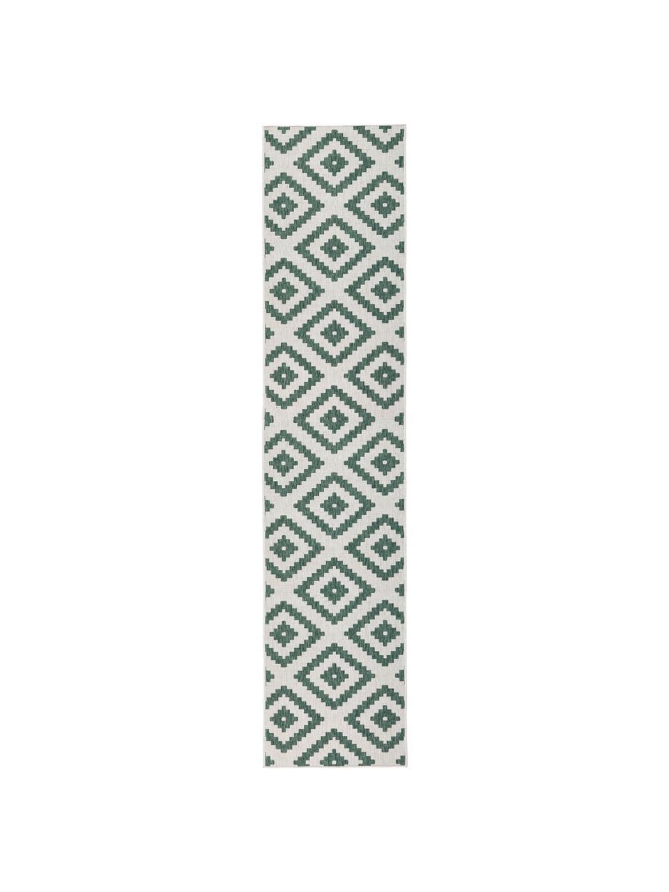 Dwustronny chodnik wewnętrzny/zewnętrzny Malta, Zielony, odcienie kremowego, S 80 x D 250 cm