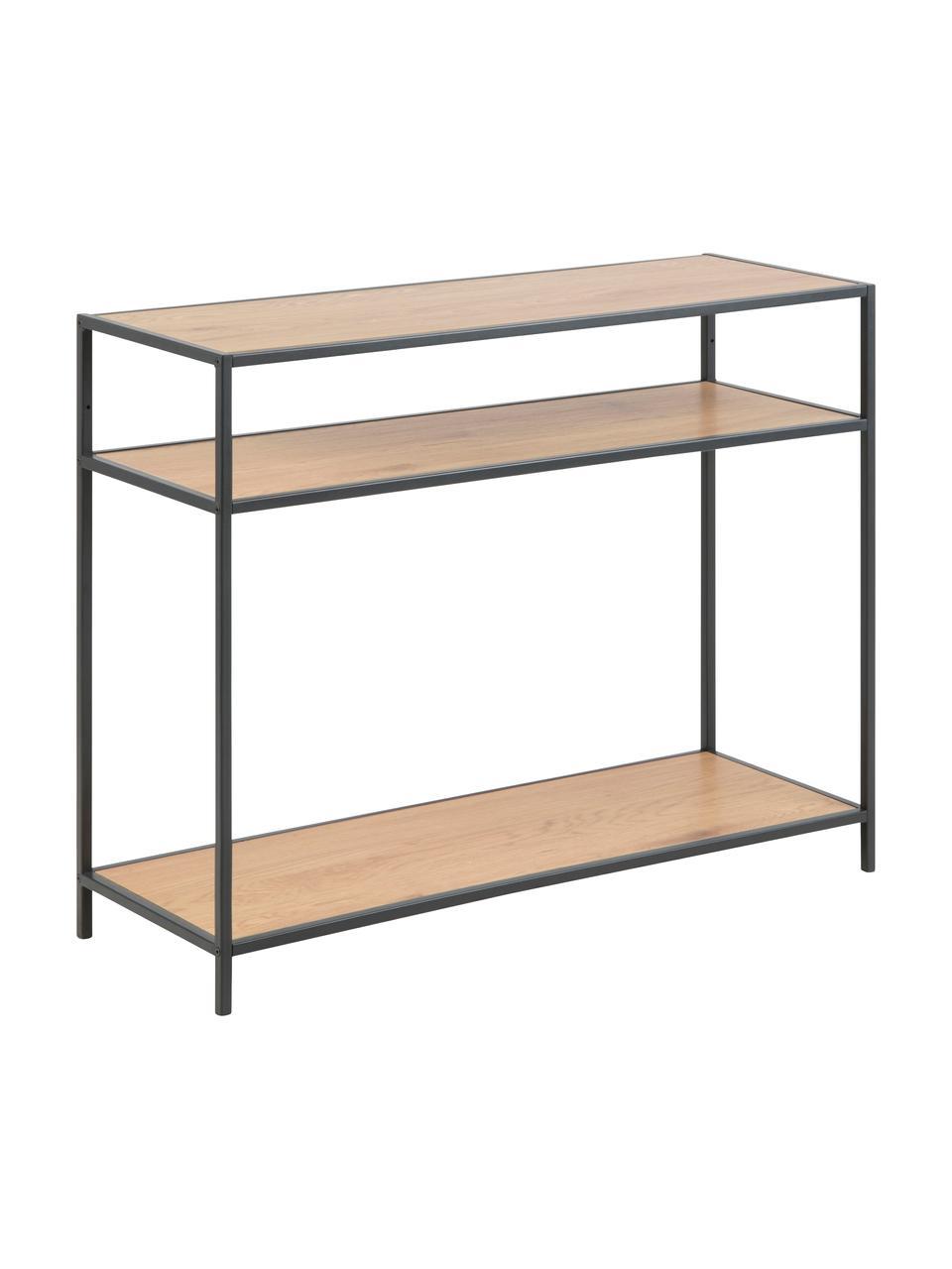 Wandtafel Seaford van hout en metaal, Frame: gepoedercoat metaal, Planken: eikenhoutkleurig. Frame: zwart, B 100 x D 35 cm