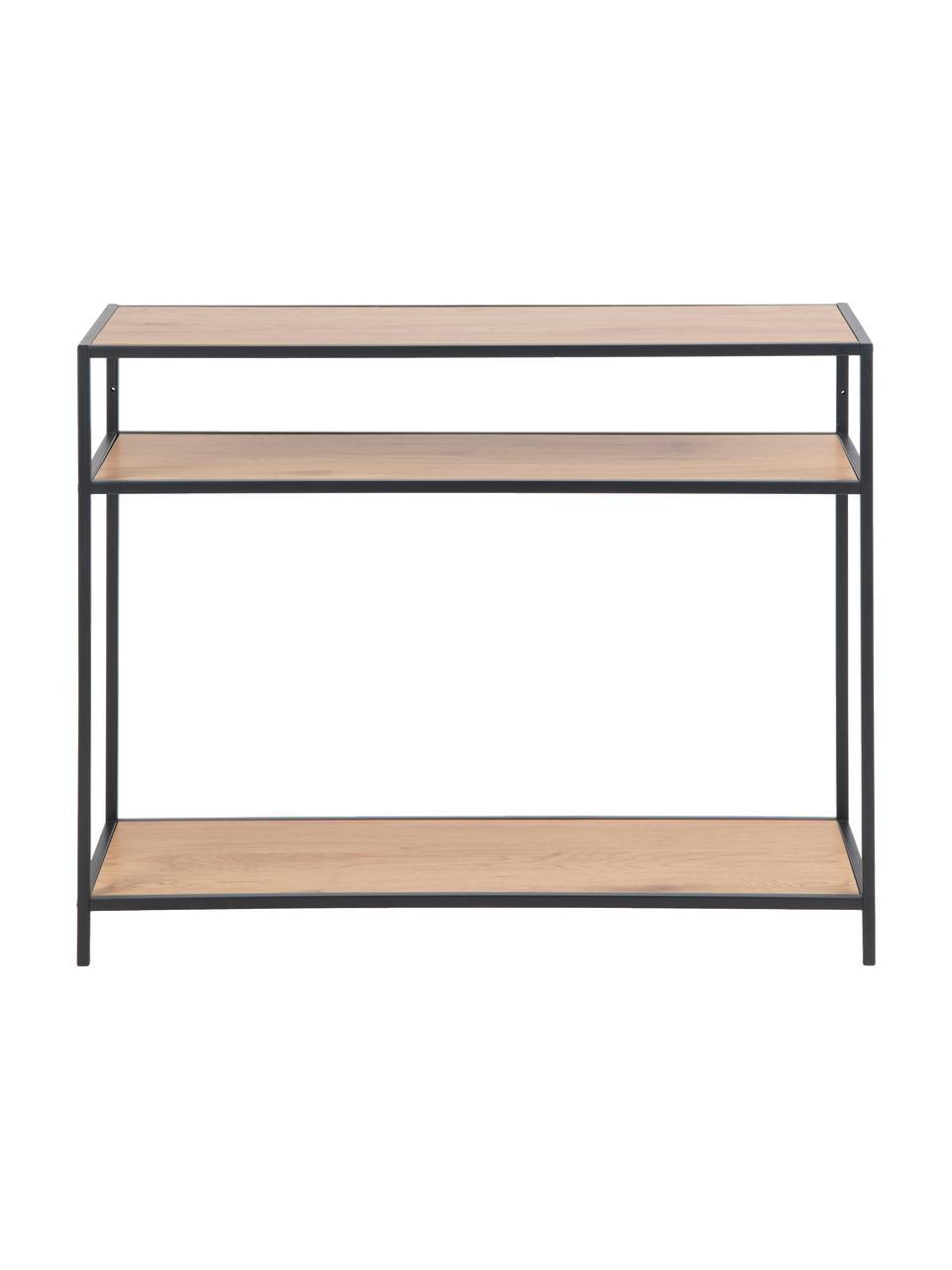 Konsola z drewna i metalu Seaford, Stelaż: metal lakierowany proszko, Czarny, drewno dzikiego dębu, S 100 x G 35 cm