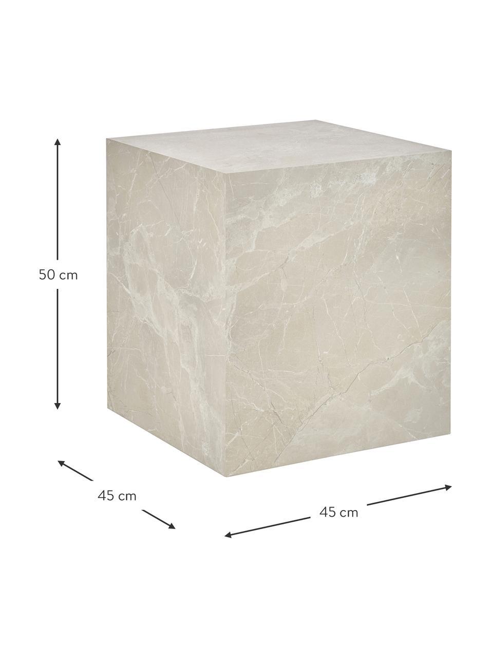 Tavolino effetto travertino Lesley, Pannello di fibra a media densità (MDF) rivestito con foglio di melamina, Beige, effetto travertino, Larg. 45 x Alt. 50 cm