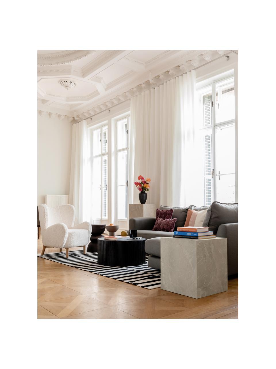 Bijzettafel Lesley in travertijn look, MDF bekleed met melaminefolie, Beige, travertijn look, 45 x 50 cm