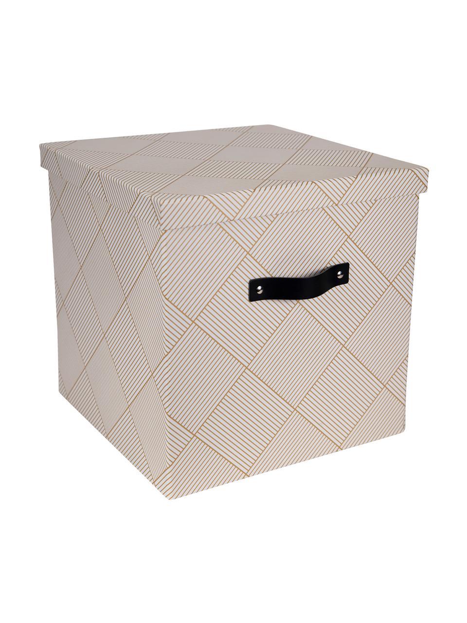 Aufbewahrungsbox Texas, Box: Fester, laminierter Karto, Griff: Leder, Goldfarben, Weiß, 32 x 31 cm