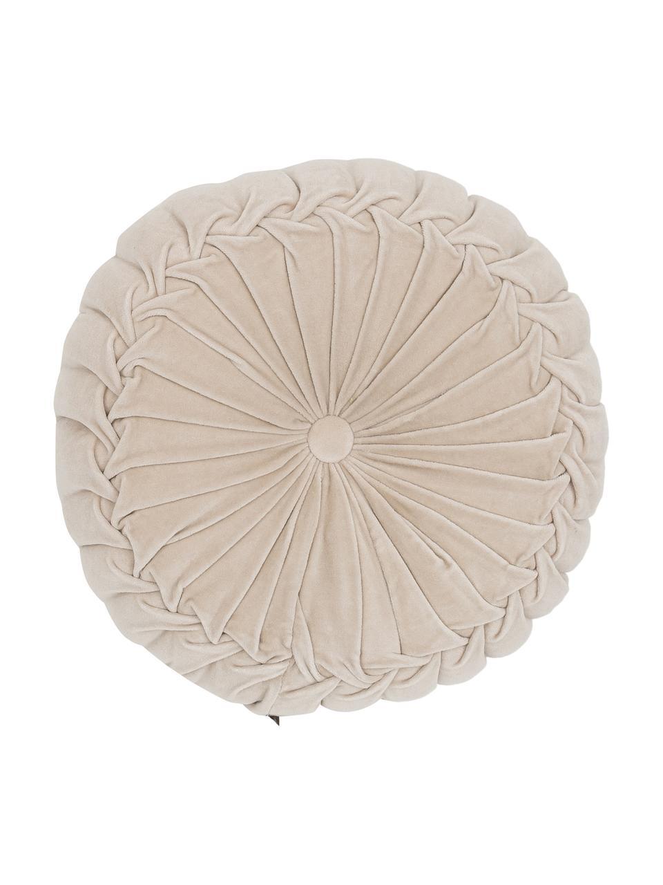 Rond fluwelen kussen Kanan met plooien, met vulling, Lichtbeige, Ø 40 x H 10 cm
