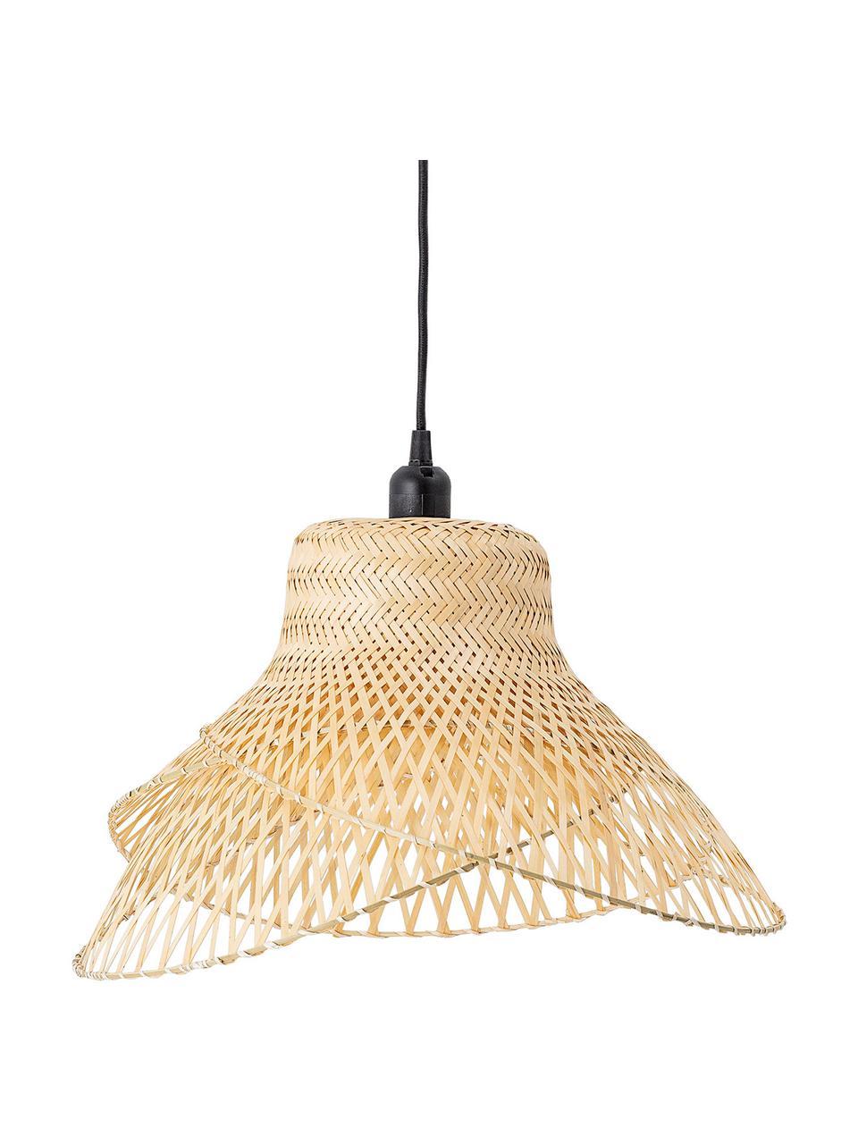 Design Pendelleuchte Mamus aus Bambus, Lampenschirm: Bambus, Baldachin: Metall, beschichtet, Bambus, Ø 48 x H 27 cm