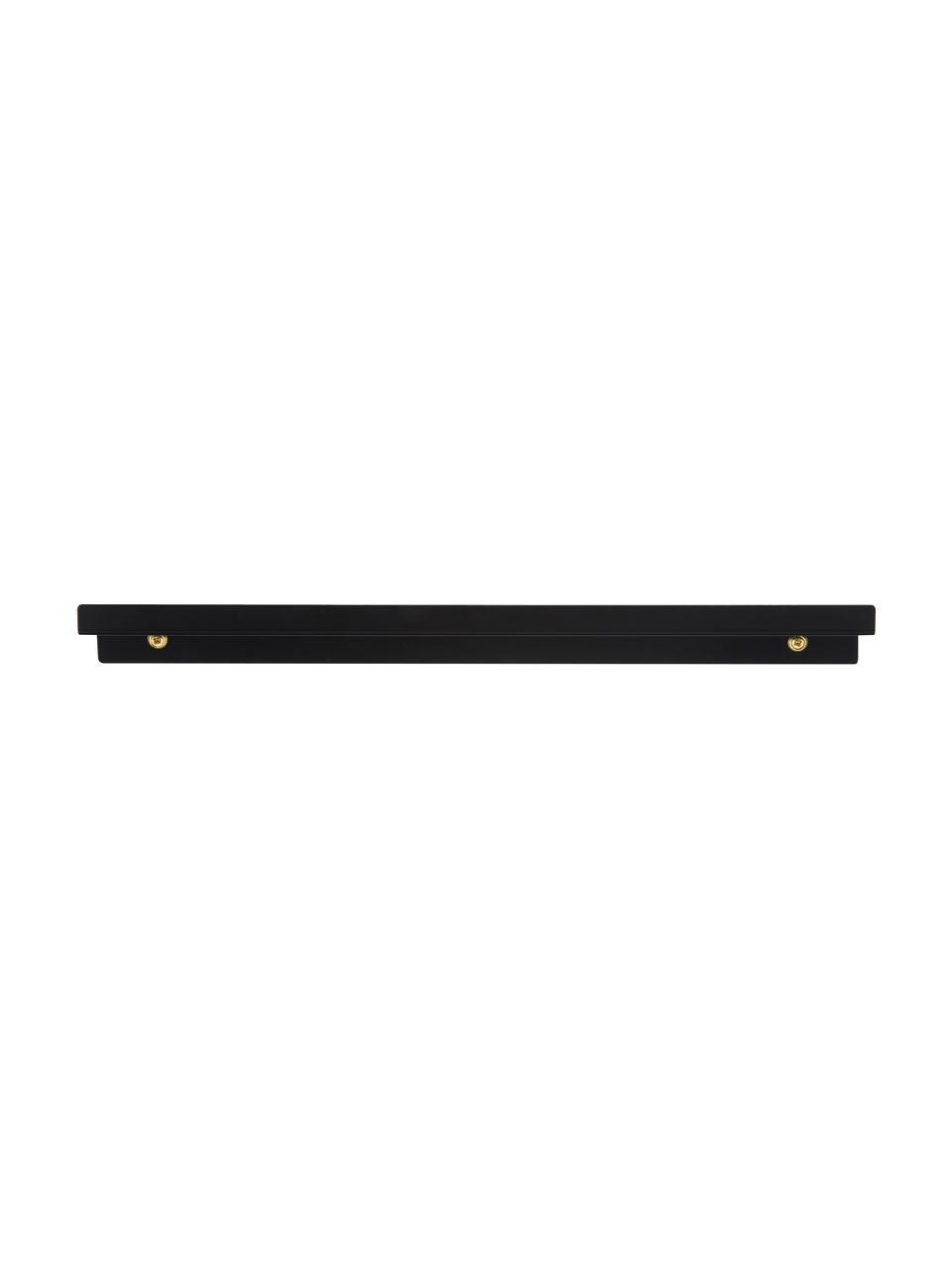 Ripiano nero opaco Shelfini, Asta: metallo verniciato, Nero, ottone, Larg. 50 x Alt. 6 cm