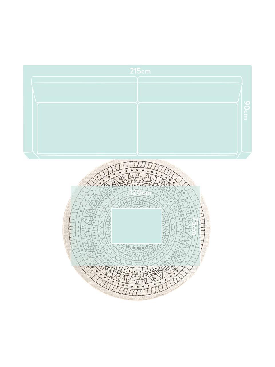 Runder In- & Outdoor-Wendeteppich Porto in Schwarz/Creme, gemustert, 100% Polypropylen, Schwarz, Cremefarben, Ø 140 cm (Größe M)