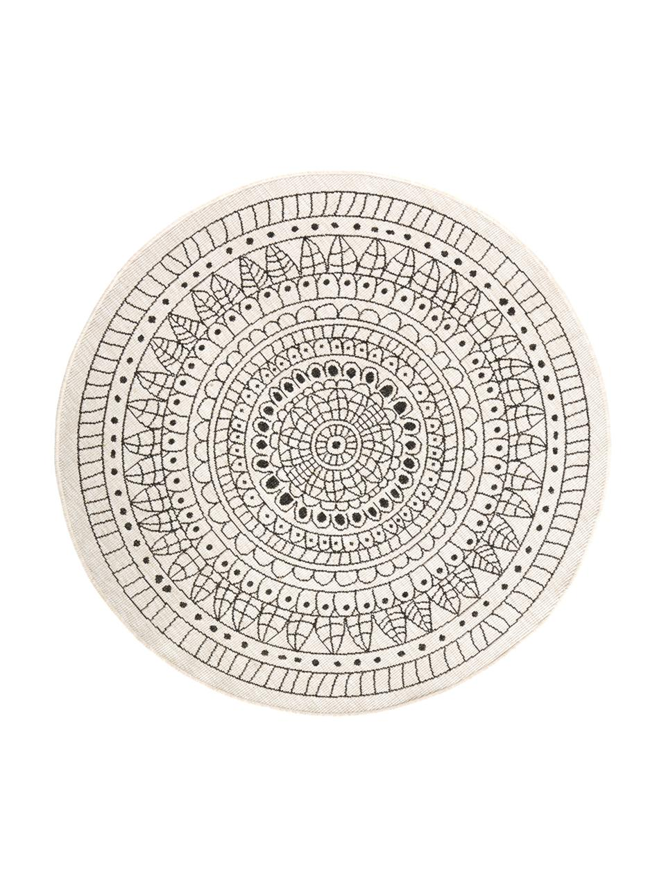 Okrągły dwustronny dywan wewnętrzny/zewnętrzny Porto, Czarny, odcienie kremowego, Ø 140 cm (Rozmiar M)