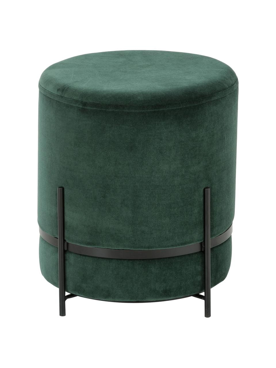 Pouf in velluto Haven, Rivestimento: velluto, Verde scuro, nero, Ø 38 x Alt. 45 cm