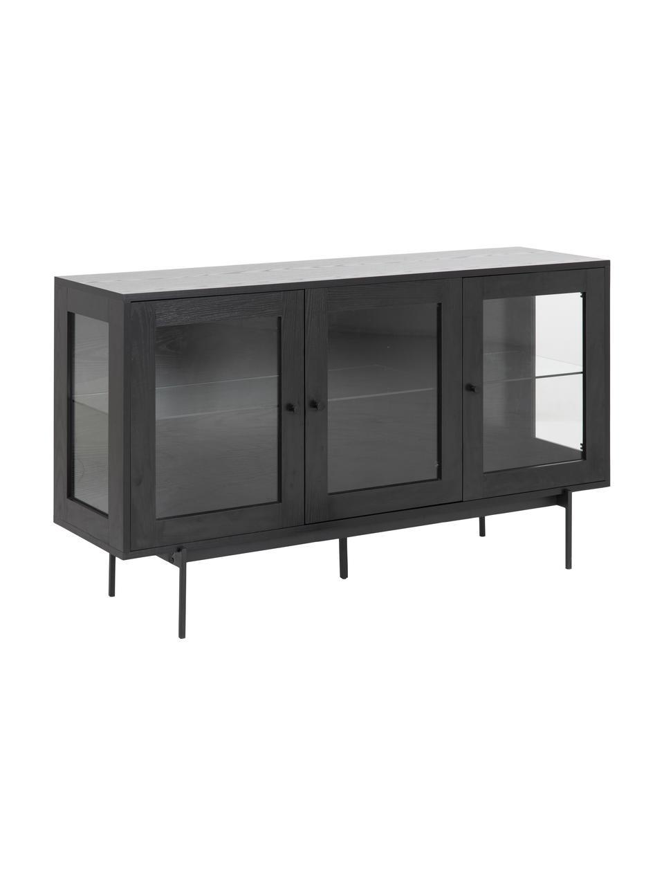 Credenza nera con ante in vetro Angus, Ripiani: vetro, Piedini: metallo rivestito, Nero trasparente, Larg. 140 x Alt. 82 cm