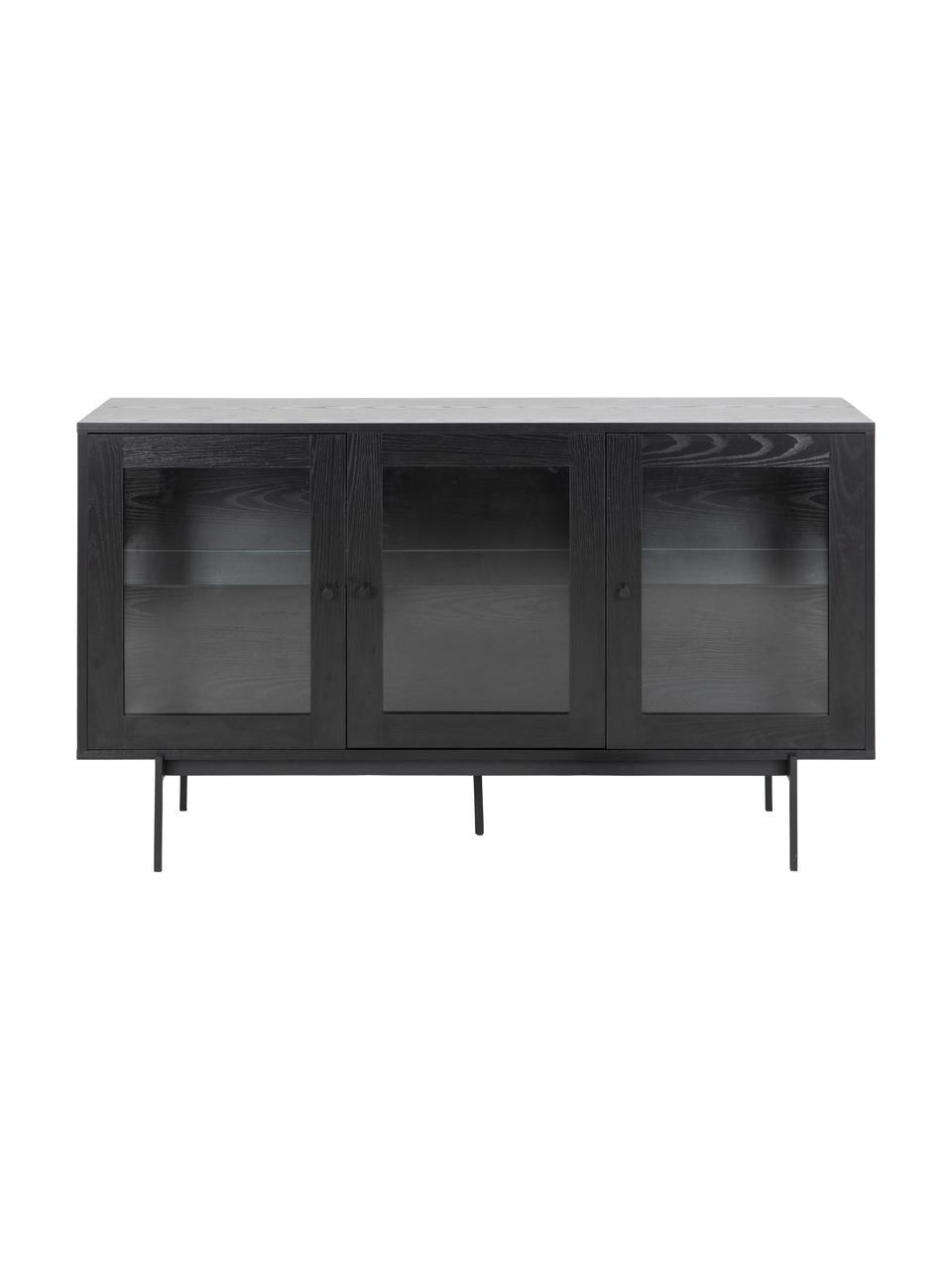 Schwarzes Sideboard Angus mit Glastüren, Korpus: Mitteldichte Holzfaserpla, Einlegeböden: Glas, Füße: Metall, beschichtet, Schwarz, Transparent, 140 x 82 cm