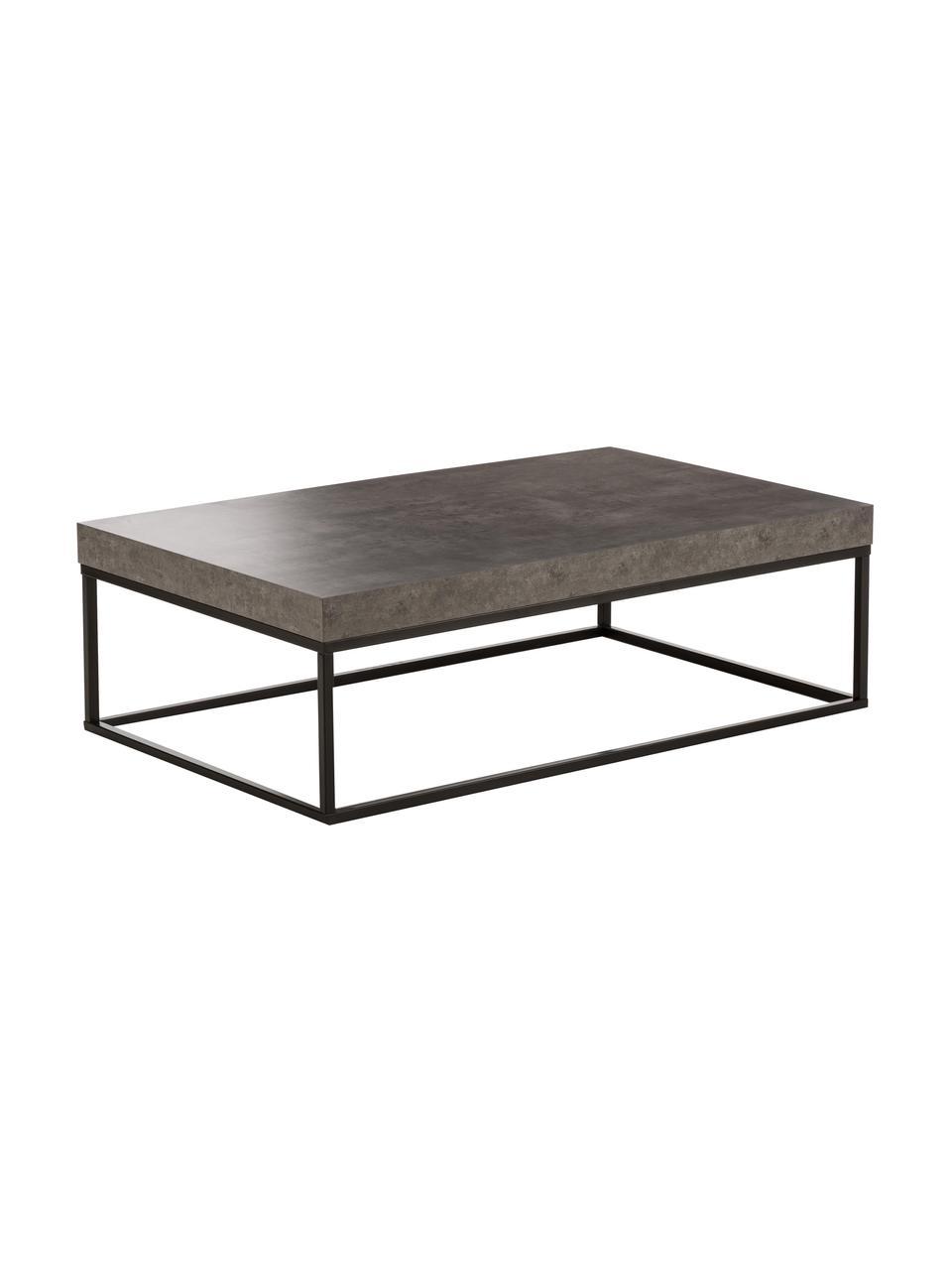 Tavolino da salotto effetto cemento Ellis, Struttura: metallo verniciato, Effetto cemento, Larg. 120 x Alt. 38 cm