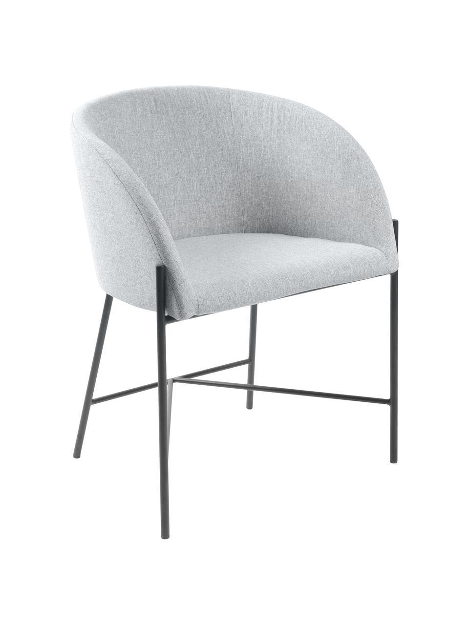 Gestoffeerde stoel Nelson met armleuningen, Bekleding: polyester De bekleding is, Poten: gelakt metaal, Geweven stof lichtgrijs, poten zwart, B 56 x D 54 cm