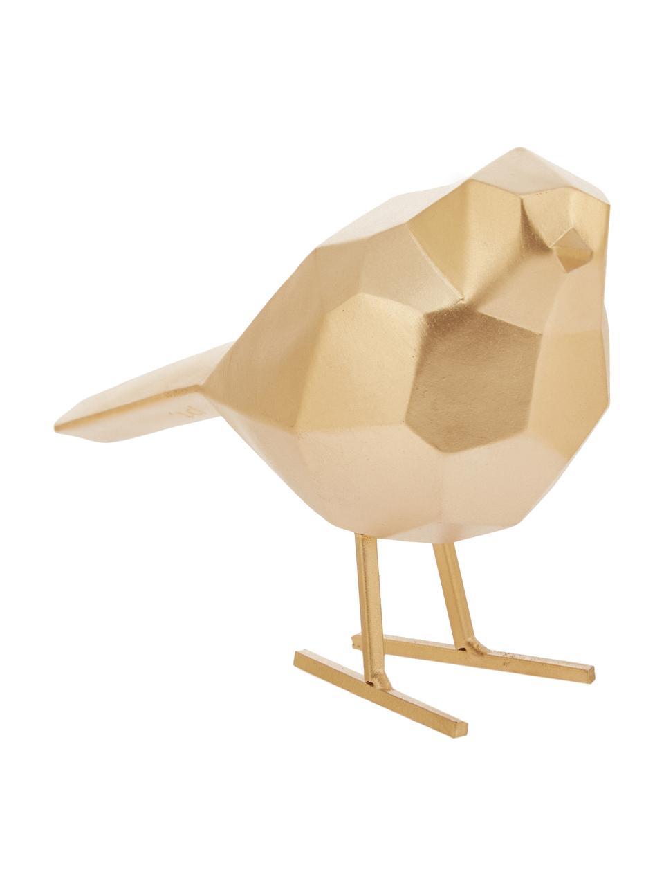 Deko-Objekt Bird, Polyresin, Goldfarben, 17 x 14 cm