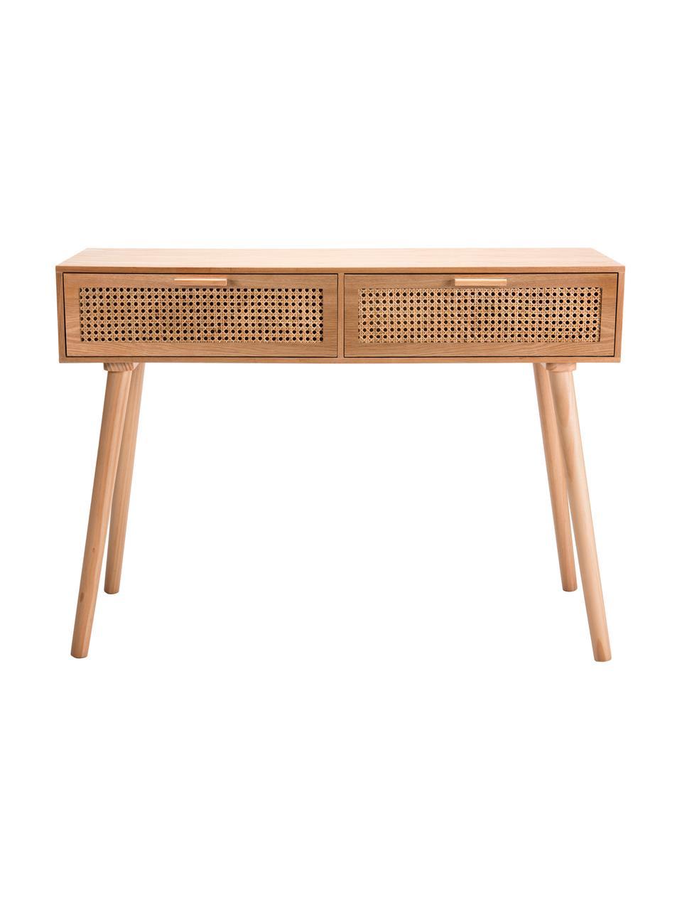 Consolle in legno con cassetti in vimini Romeo, Marrone chiaro, Larg. 110 x Alt. 82 cm