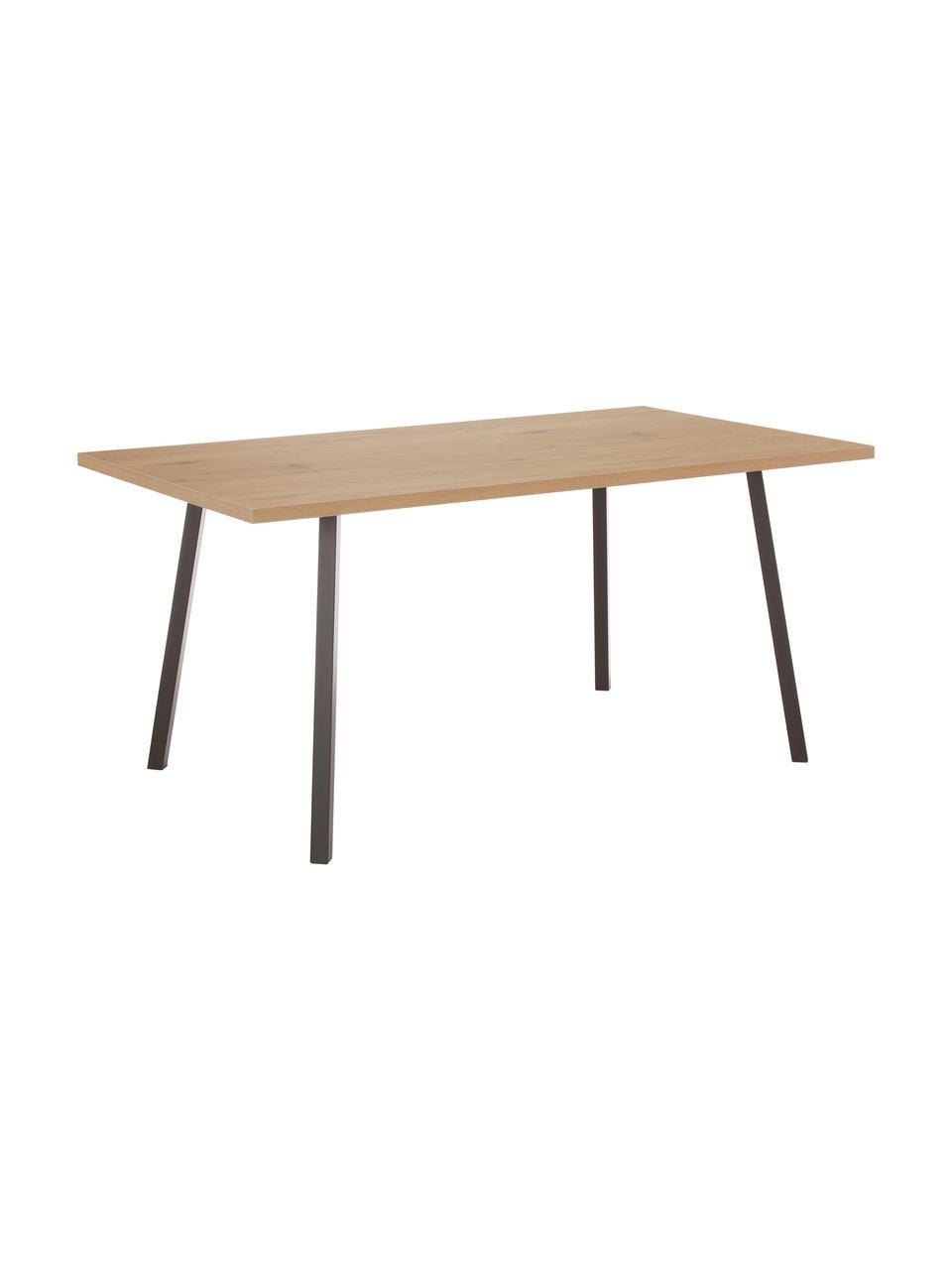 Stół do jadalni z blatem imitacji drewna dębowego Cenny, Blat: płyta pilśniowa średniej , Drewno dębowe, czarny, S 160 x G 90 cm
