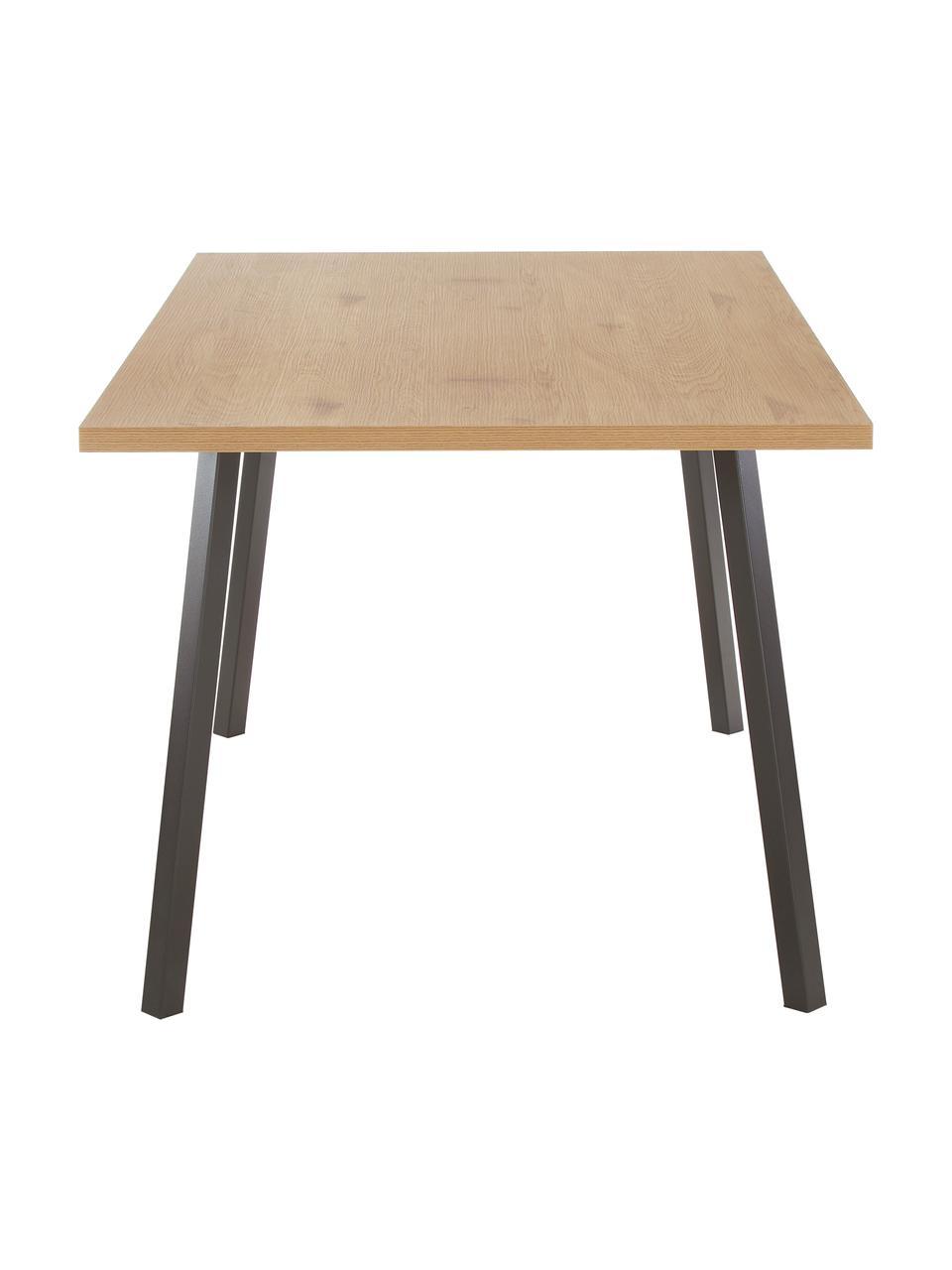 Eettafel Cenny met tafelblad in eikenhouten look, Tafelblad: MDF, melamine bekleed, Frame: gepoedercoat metaal, Eikenhoutkleurig, zwart, B 160 x D 90 cm