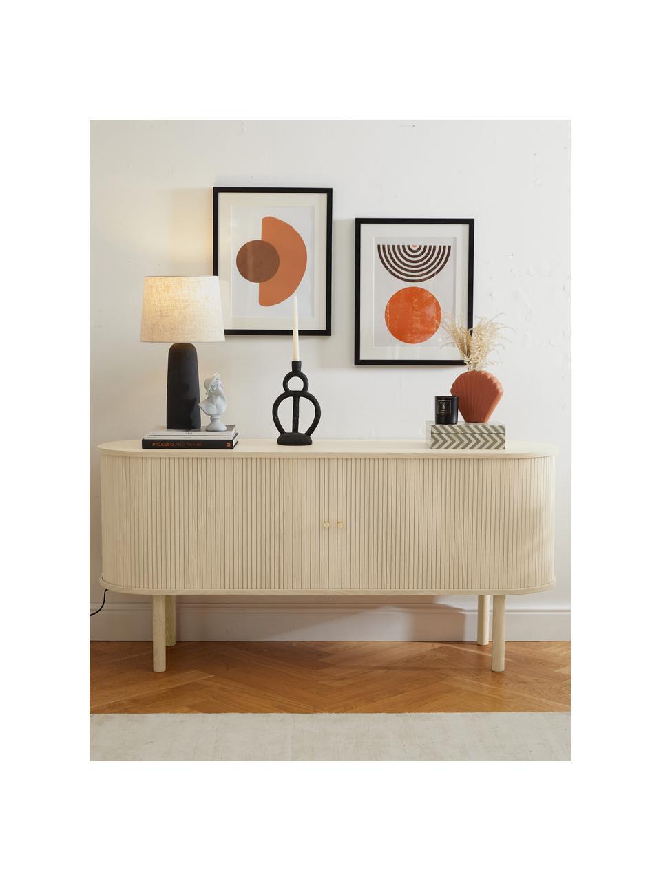 Houten dressoir Calary met lamellendeuren, Frame: MDF en multiplex met eike, Poten: massief eikenhout, Licht hout, 160 x 75 cm