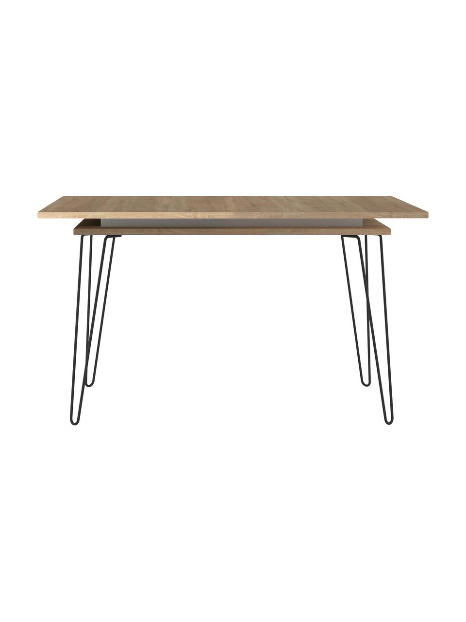 Stół rozkładany do jadalni Aero, Nogi: metal lakierowany, Drewno dębowe, S 134 do 174 x G 90 cm