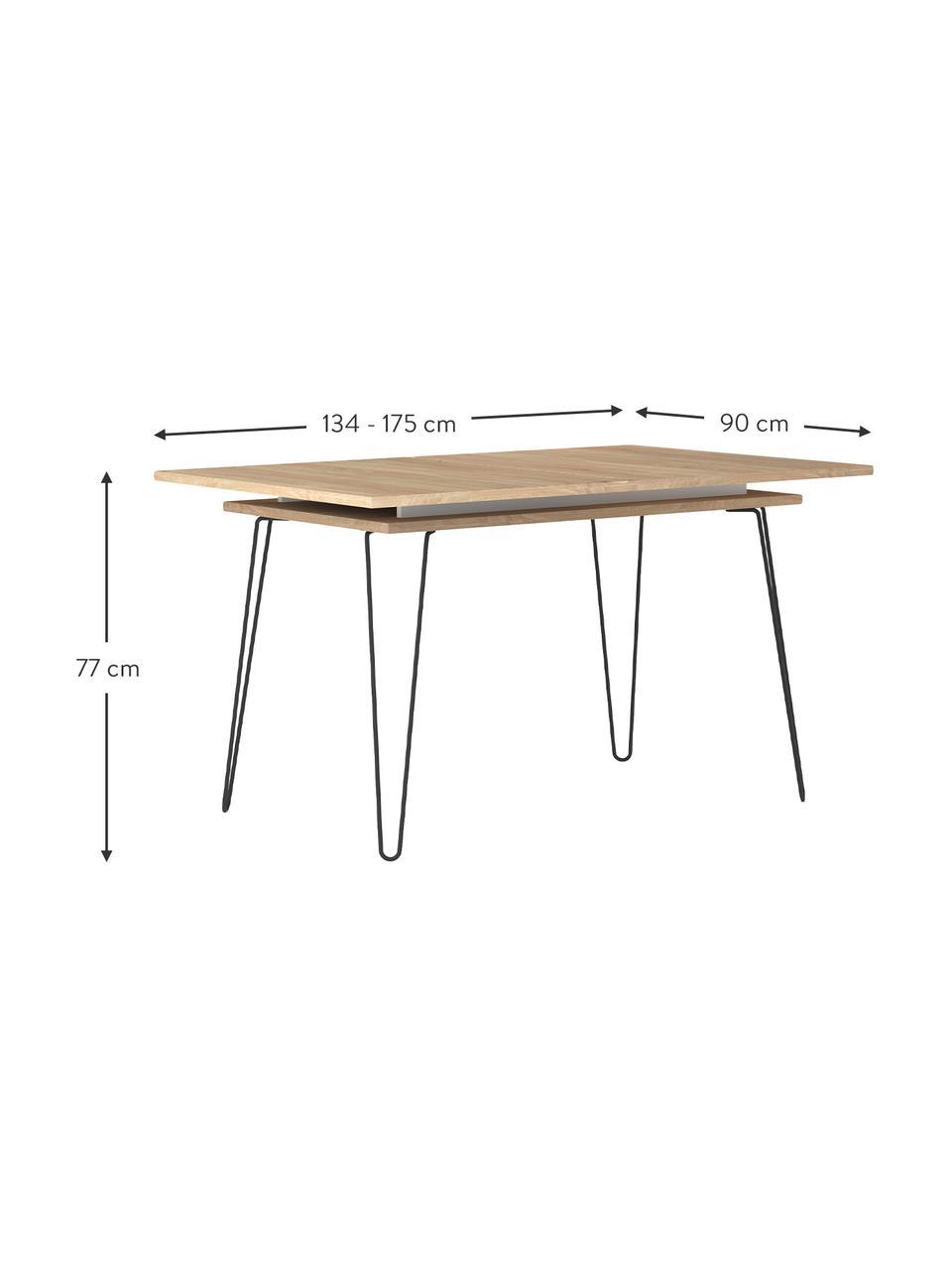 Ausziehbarer Esstisch Aero mit Eichenholzfurnier, Beine: Metall, lackiert, Eichenholz, B 134 bis 175 x T 90 cm