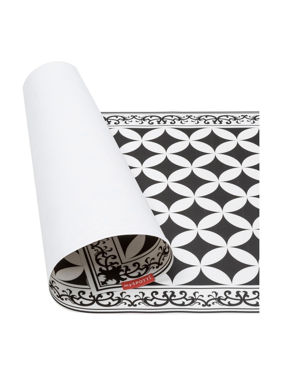 Vlakke vinyl vloermat Chadi in zwart en wit, antislip, Recyclebaar vinyl, Zwart, wit, 65 x 255 cm