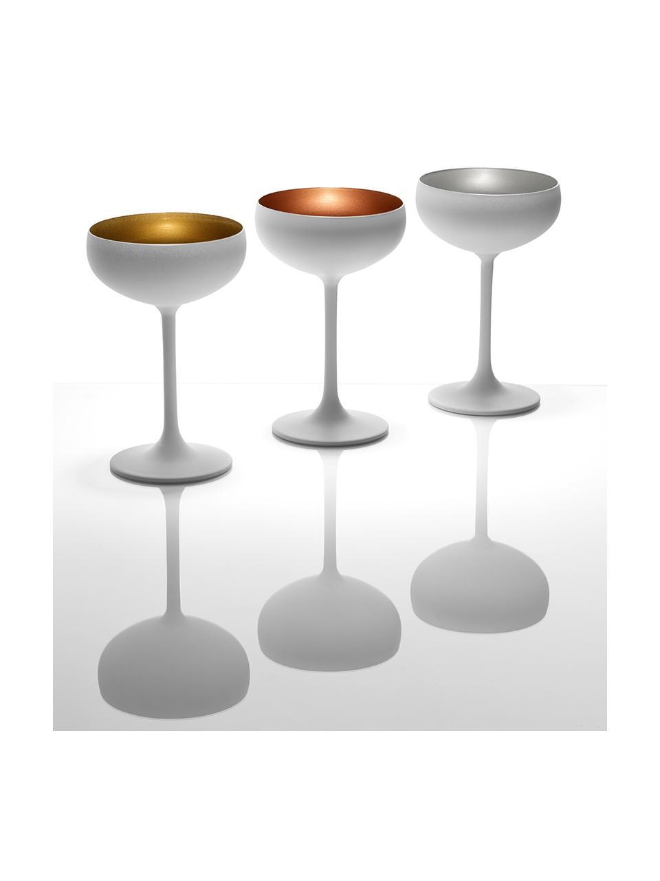 Coppa champagne in cristallo Elements 6 pz, Cristallo rivestito, Bianco, bronzo, Ø 10 x Alt. 15 cm