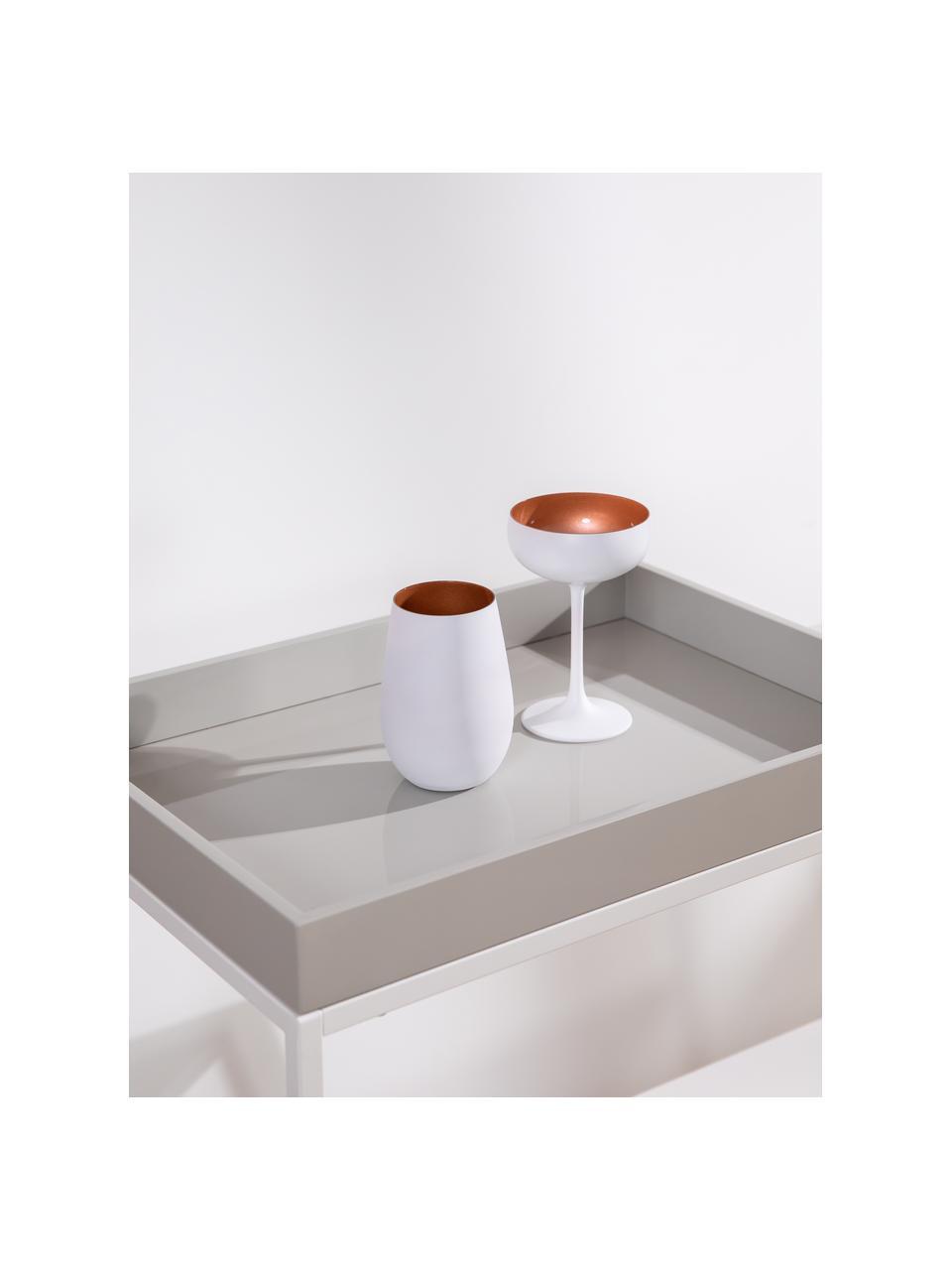 Kristal champagneglazen Elements in wit/koper, 6-delig, Kristalglas, gecoat, Wit, bronskleurig, Ø 10 x H 15 cm