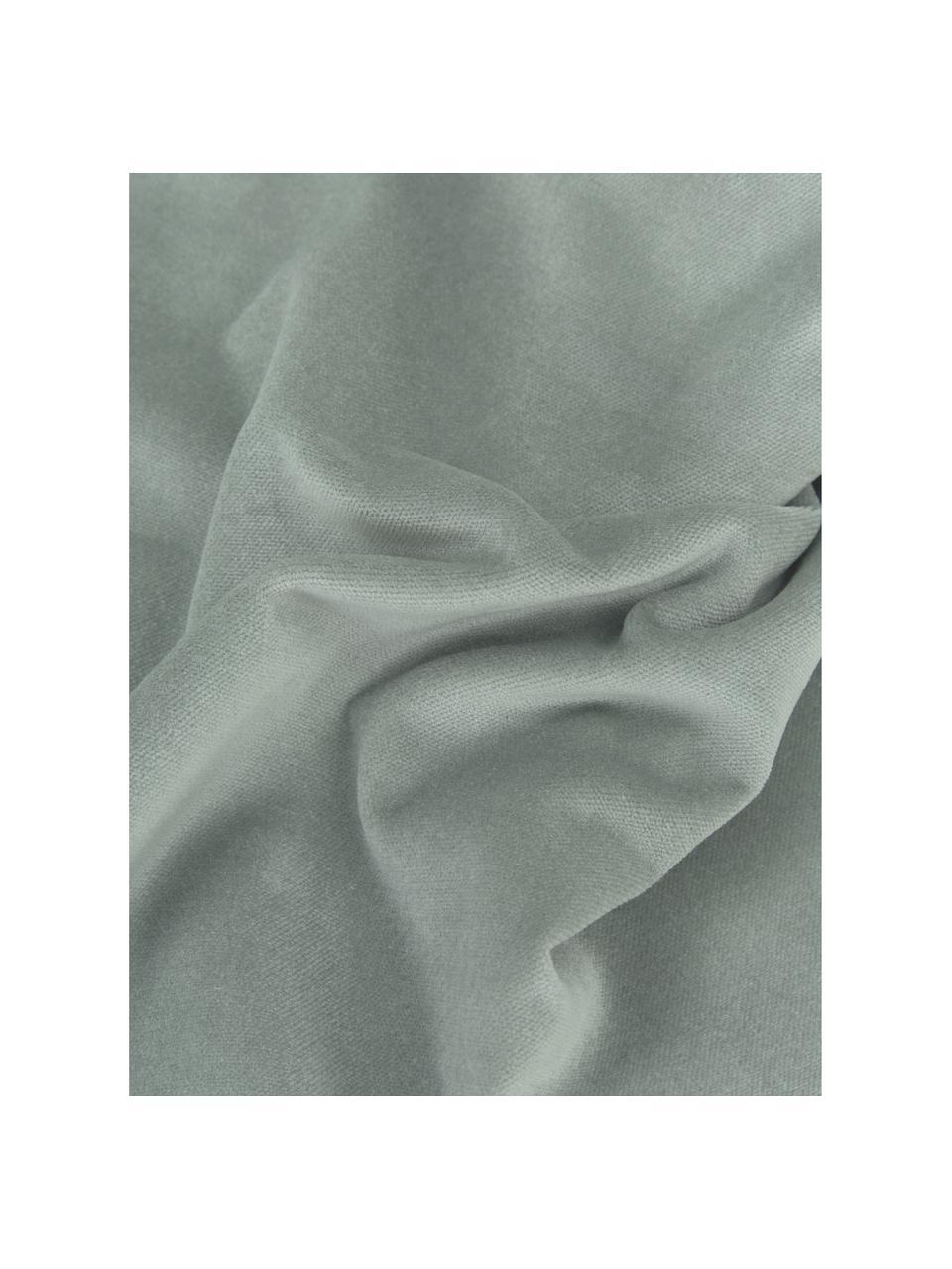 Effen fluwelen kussenhoes Dana in saliegroen, 100% katoenfluweel, Saliegroen, 50 x 50 cm