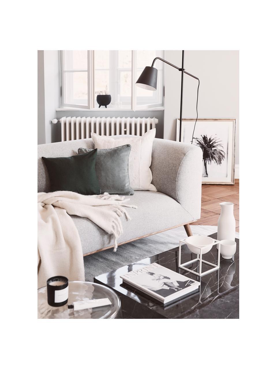 Poszewka na poduszkę z aksamitu Dana, 100% aksamit bawełniany, Szałwiowy zielony, S 50 x D 50 cm