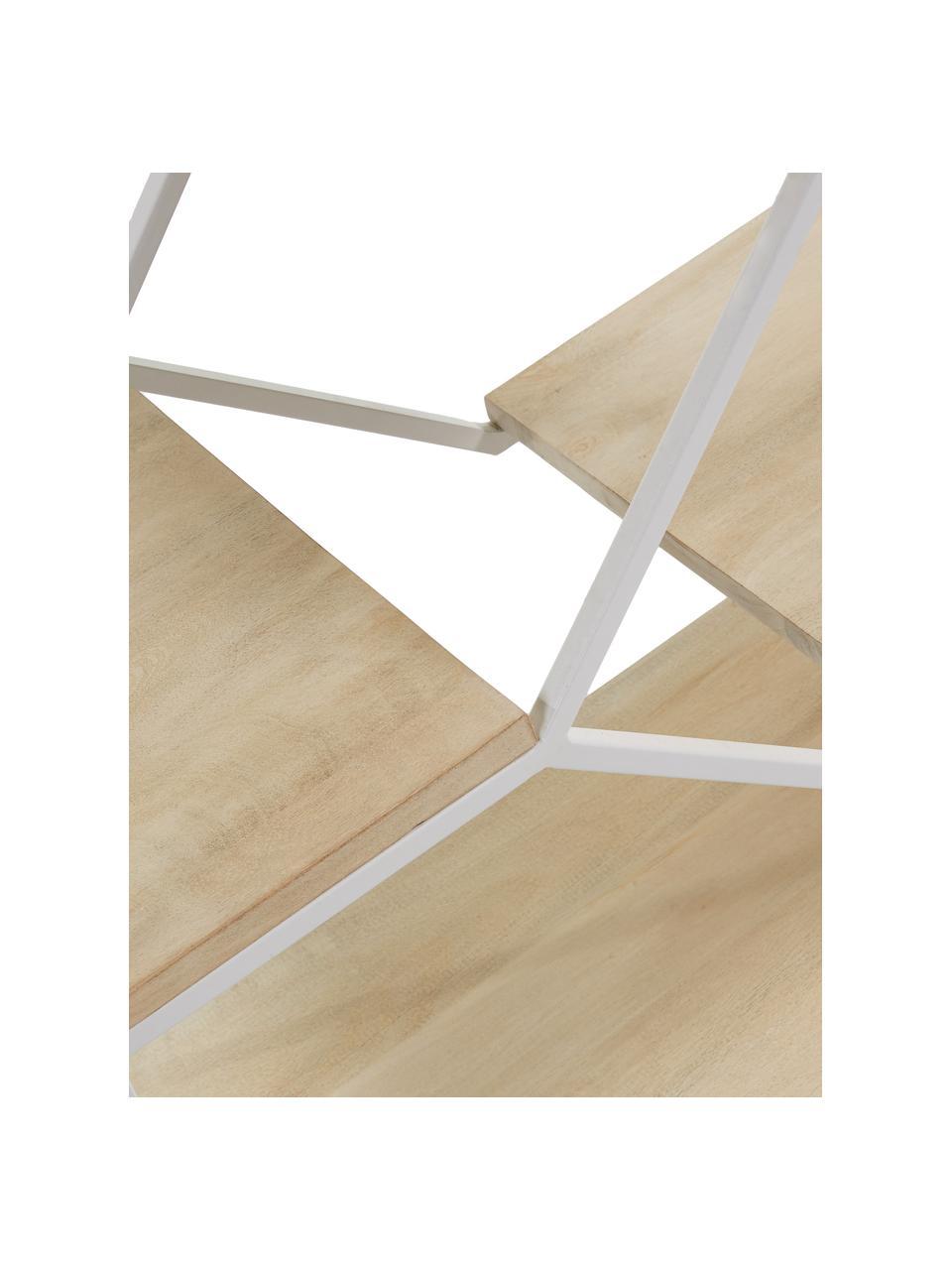 Regał z drewna i metalu Push, Stelaż: metal lakierowany, Biały, brązowy, S 80 x W 94 cm