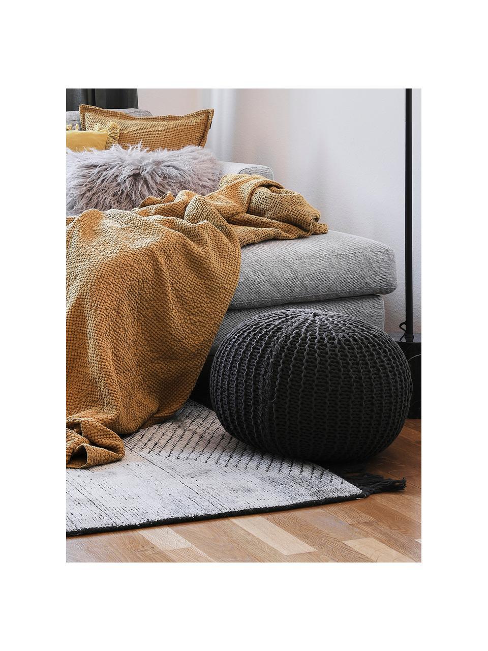 Ręcznie wykonany puf z dzianiny Dori, Tapicerka: 100% bawełna, Ciemny szary, Ø 55 x W 35 cm