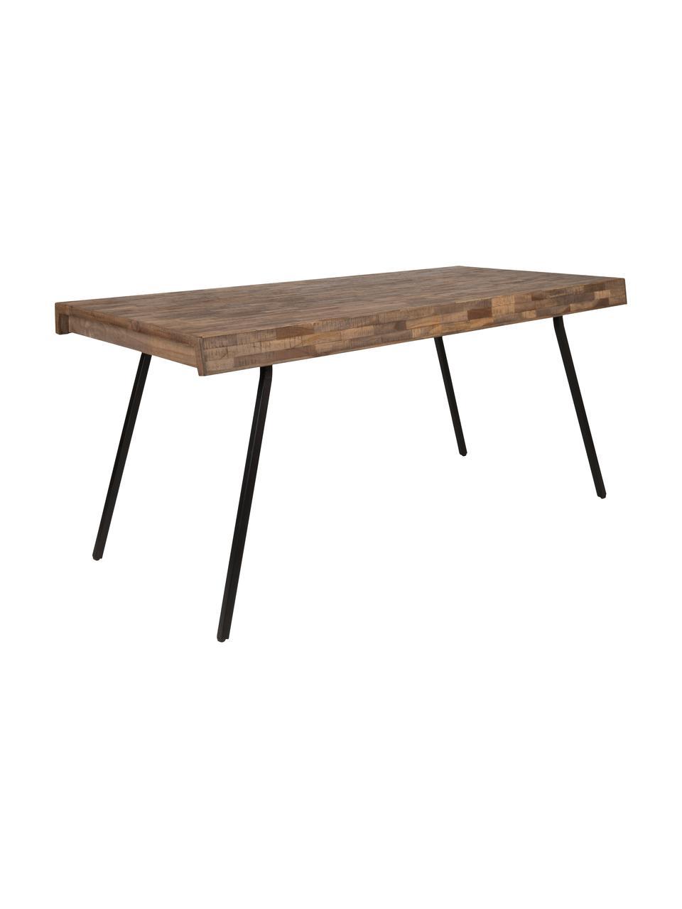 Stół do jadalni Suri, Blat: drewno tekowe pochodzące , Nogi: stal, pokryta melaminą, Blat: drewno tekowe Nogi: czarny, S 160 x G 78 cm
