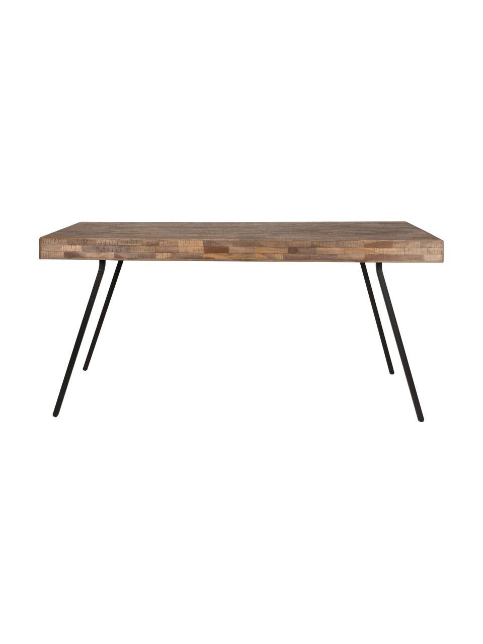 Table en bois de teck Suri, Plateau: bois de teck Pieds: noir