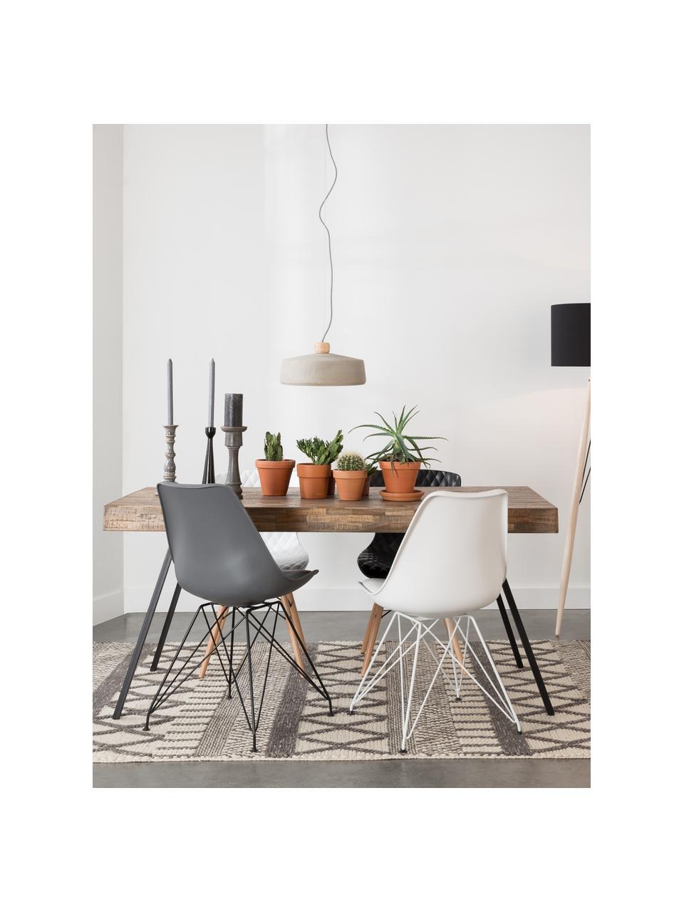 Stół do jadalni z blatem z recyklingowego drewna tekowego Suri, Blat: drewno tekowe pochodzące , Nogi: stal, pokryta melaminą, Drewno tekowe z recyklingu, S 160 x G 78 cm