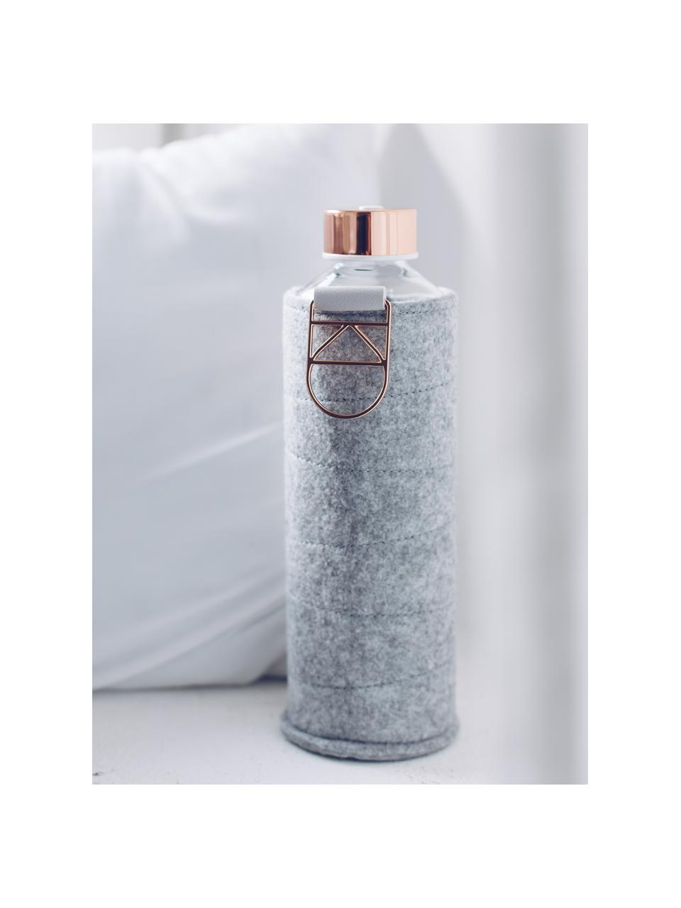 Trinkflasche Mismatch, Flasche: Borosilikatglas, Deckel: Edelstahl, Tritan, Siliko, Bezug: Polyesterfilz, Grau, Transparent, Kupferfarben, Ø 8 x H 26 cm