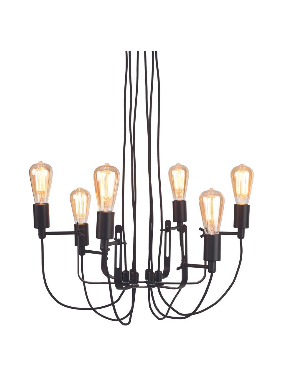 Lampa wisząca w stylu industrialnym Seattle, Czarny, Ø 55 x W 26 cm
