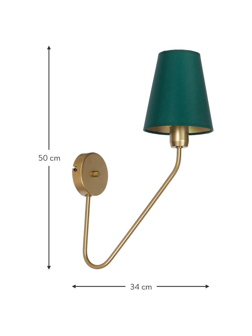 Lampada da parete di design Victoria, Paralume: poliestere cotone, Verde, dorato, Larg. 15 x Alt. 50 cm