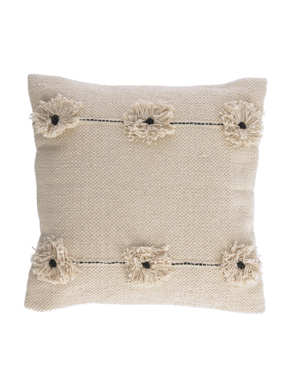 Federa arredo con fiori decorativi Belisa, 100% cotone, Beige, Larg. 45 x Lung. 45 cm