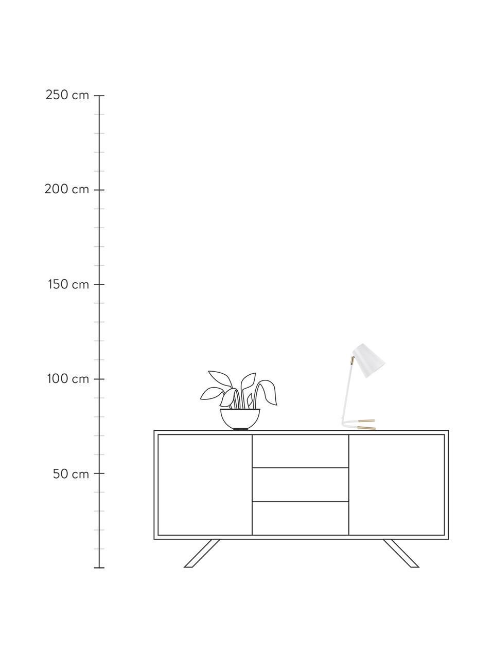 Schreibtischlampe Noble mit Gold-Dekor, Lampenschirm: Metall, beschichtet, Lampenfuß: Metall, beschichtet, Weiß, Goldfarben, 25 x 46 cm