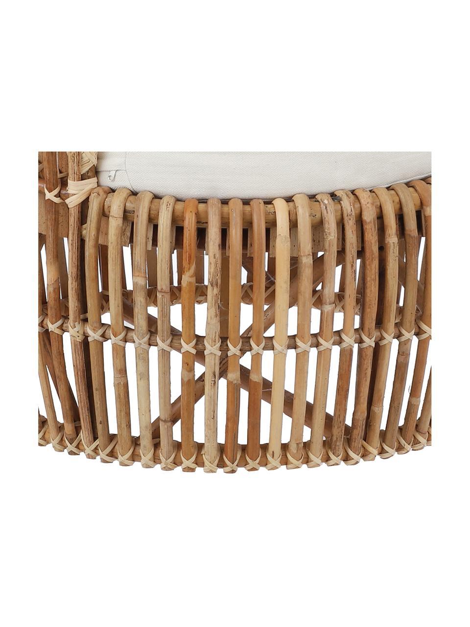 Fotel wypoczynkowy z rattanu z obiciem Minou, Stelaż: rattan, Tapicerka: poliester, Brązowy, S 100 x G 80 cm