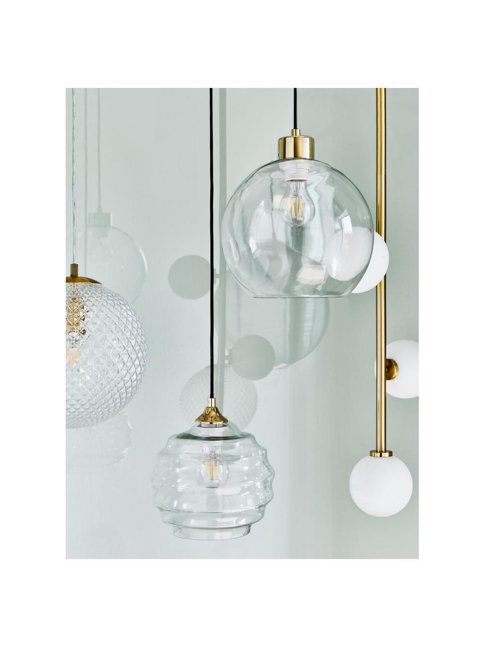 Lampada a sospensione in vetro Irina, Paralume: vetro, Baldacchino: metallo zincato, Oro, Ø 24 x Alt. 22 cm