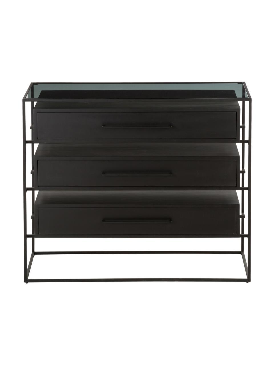Szafka z szufladami ze szklanym blatem Lyle, Czarny, S 100 x W 82 cm
