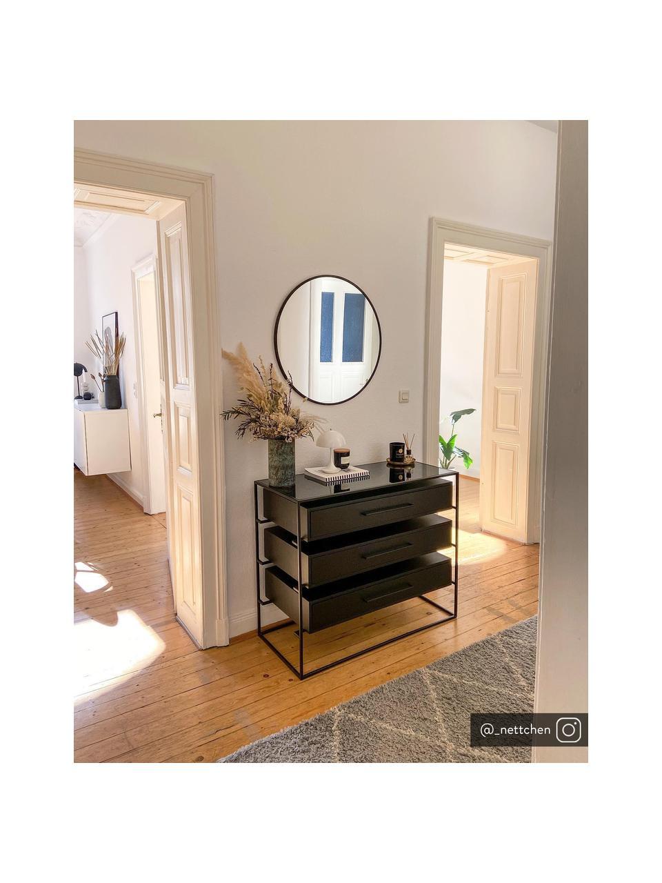 Ladekast Lyle met glazen blad, Plank: glas, Laden: zwart gelakt mangohout. Frame en handvat: mat zwart, 100 x 82 cm