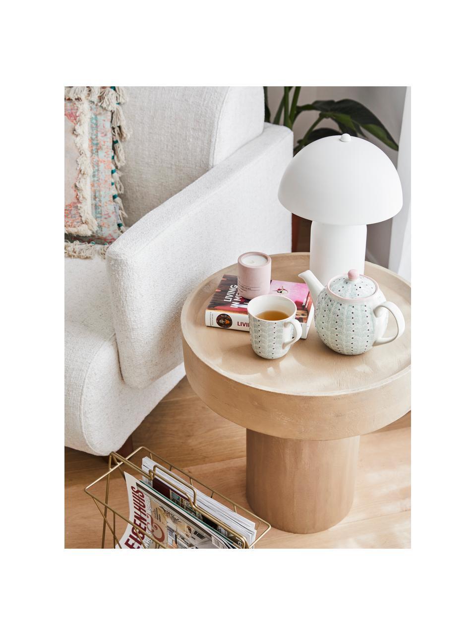Tavolino rotondo in legno di mango marrone chiaro Benno, Legno massiccio di mango verniciato, cemento, Marrone chiaro, Ø 50 x Alt. 50 cm