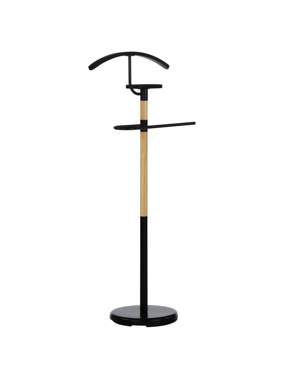 Dressboy Esteban, Staal, rubberhout, Zwart, bruin, H 114 cm