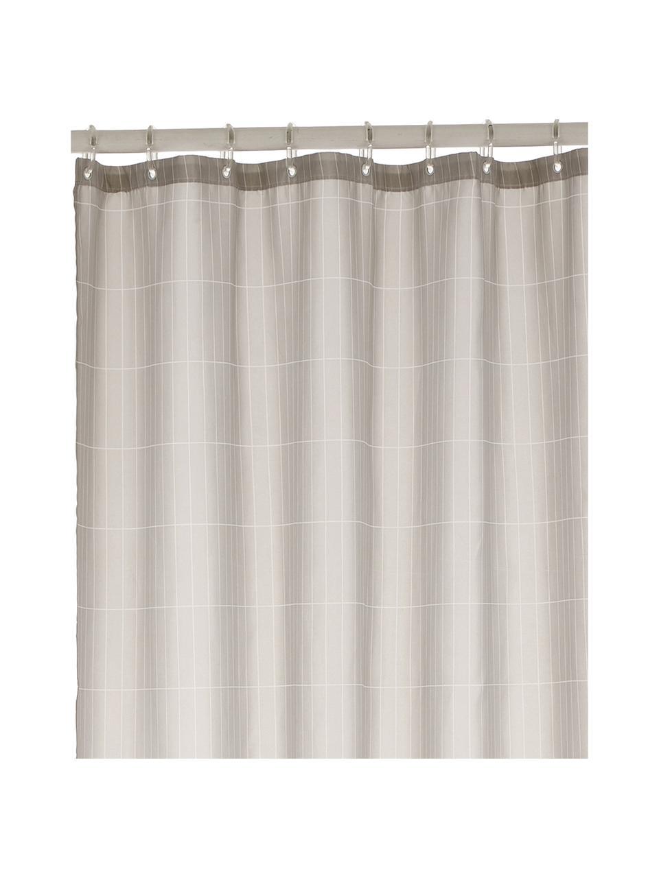 Rideau de douche gris à carreaux Tiles, Revêtement: gris clair Pieds: noir