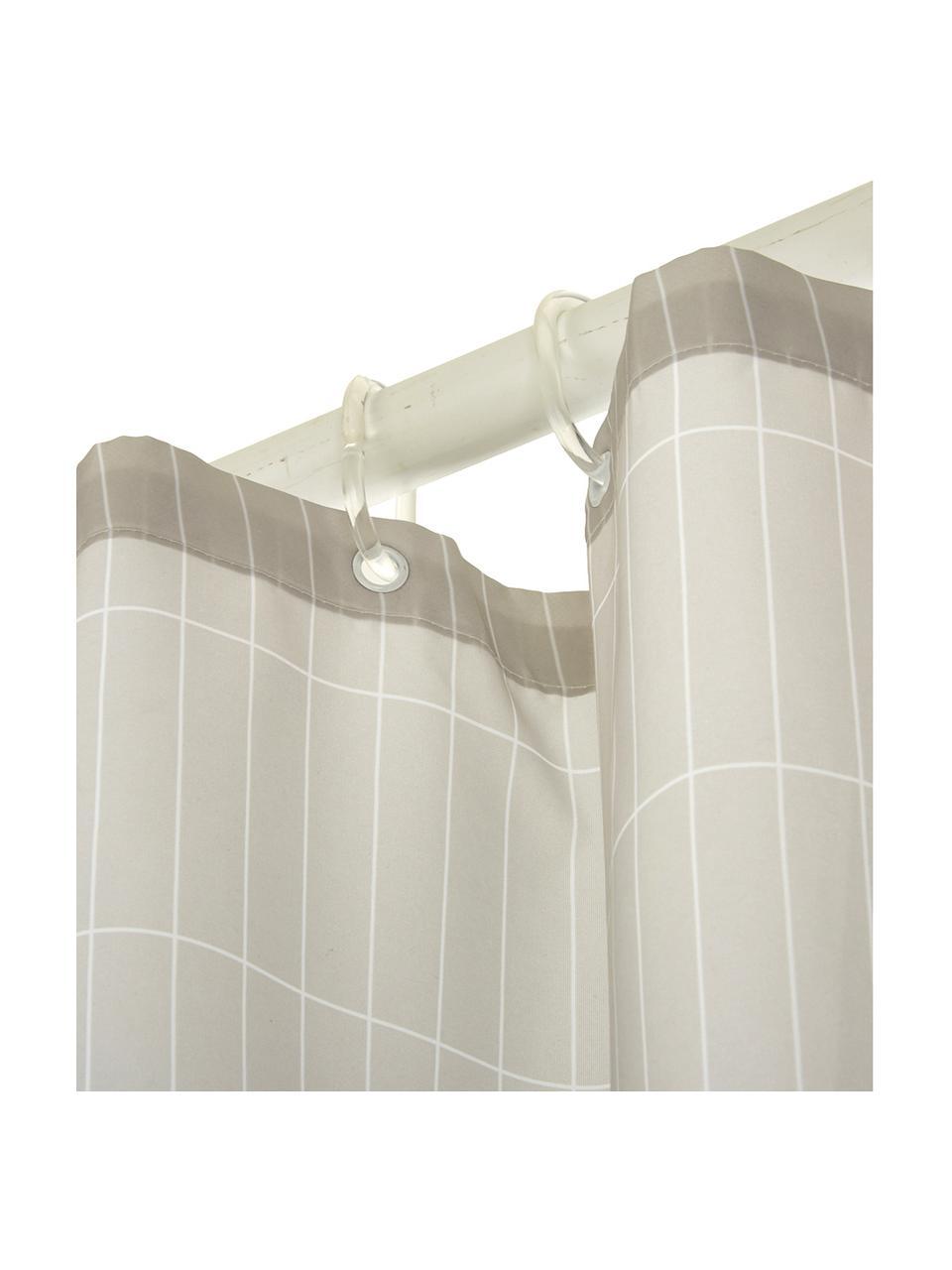 Karierter Duschvorhang Tiles, Hellgrau, 180 x 200 cm