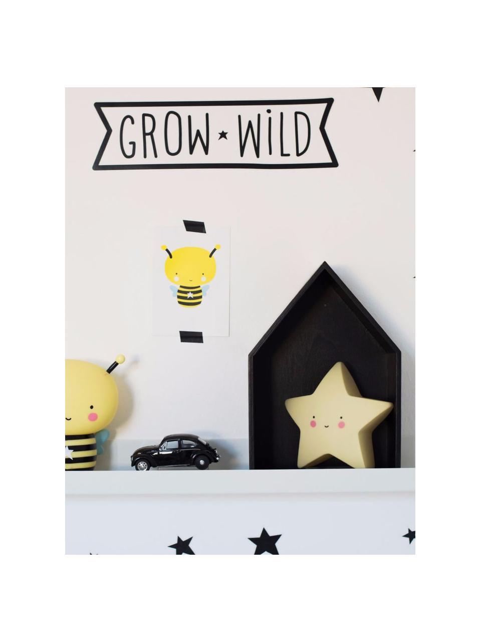 Klein LED lichtobject Star met tijdschakelaar, Kunststof, Geel, zwart, roze, 14 x 14 cm
