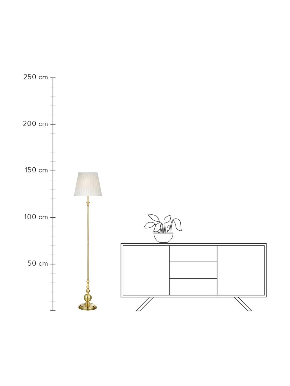 Stehlampe Imperia in Messing, Lampenschirm: Polyester, Lampenfuß: Metall, vermessingt, Weiß,Messing, Ø 30 x H 149 cm