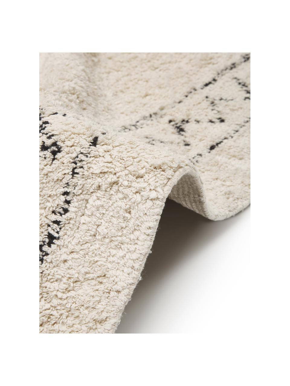 Ručně tkaný bavlněný koberec s třásněmi Frame, Béžová, černá