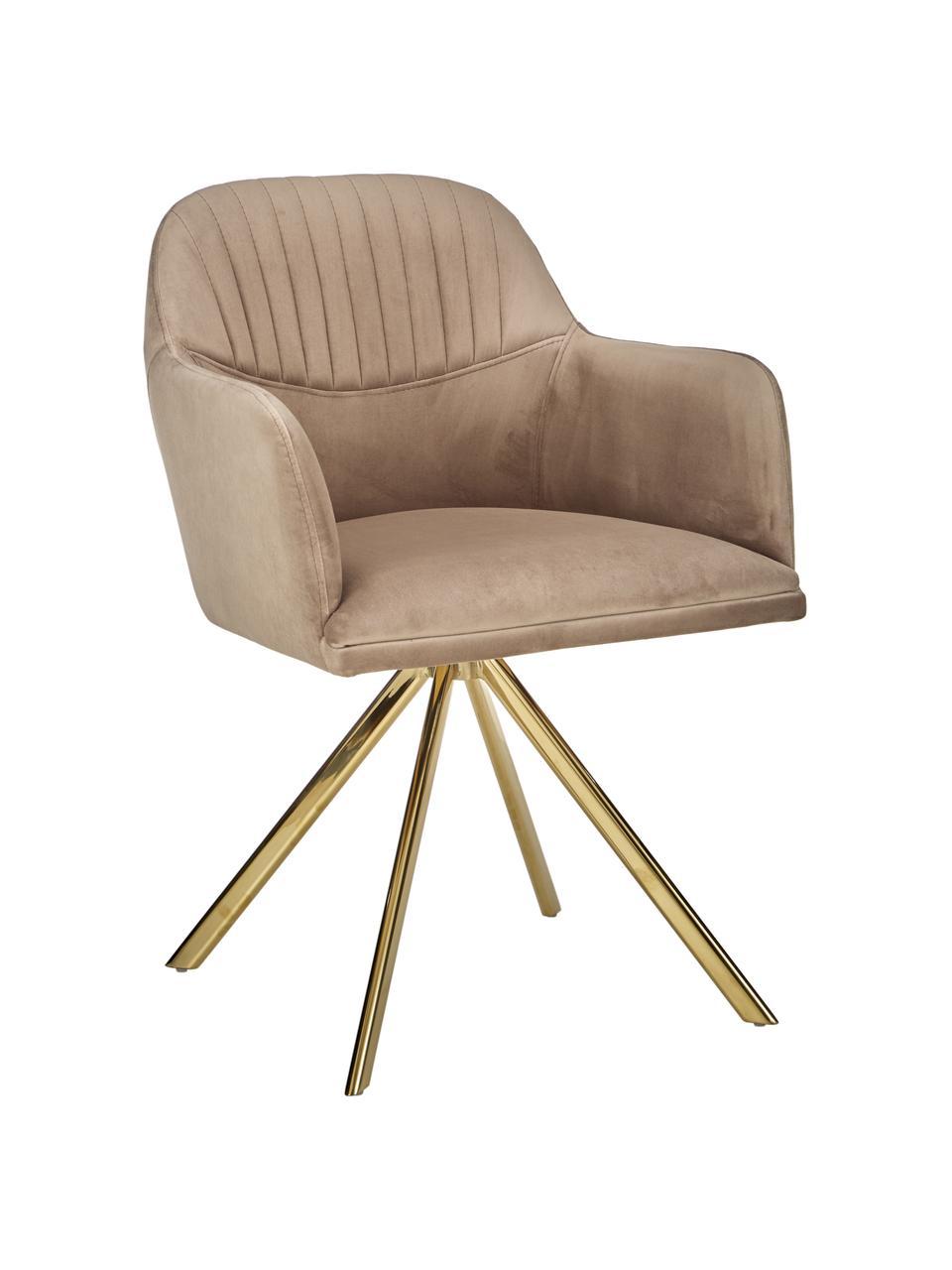 Chaise velours pivotante brun clair avec accoudoirs Lola, Velours brun clair Pieds: doré